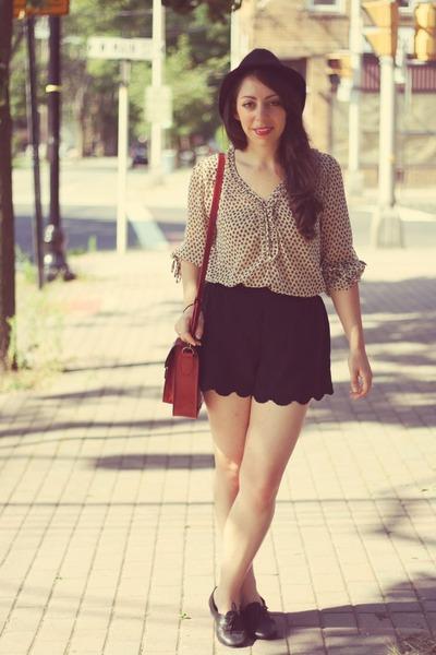 Zara blouse - Jeffrey Campbell shoes - H&M hat - Ebay bag - Old Navy shorts