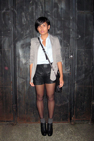 blue H&M shirt - gray urban behavior blazer - black Forever 21 shorts - black Fo
