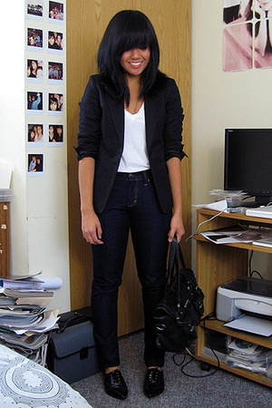 H&M blazer - Mavi jeans - American Apparel t-shirt - asos shoes