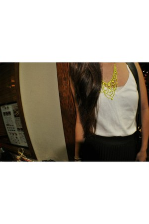 neon necklace - black maxi skirt