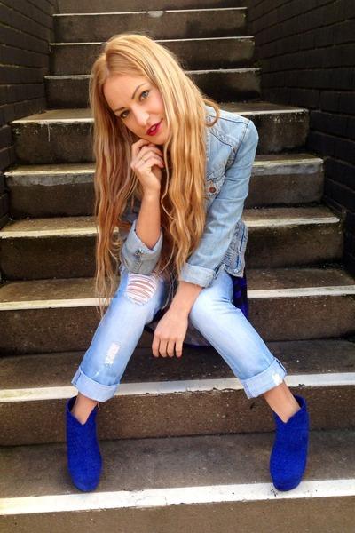 blue asos boots - blue Topshop dress - sky blue jeans - denim asos jeans