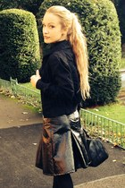 River Island skirt - black leather River Island boots - black new look jacket