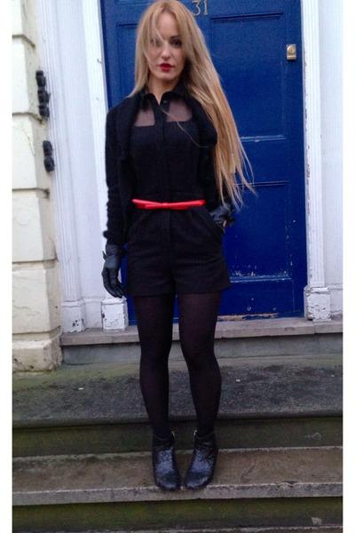 black Topshop bodysuit - black cashmere American Apparel cardigan