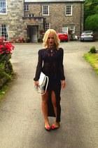 black Miss Selfridge top - white leather Miss Selfridge bag - black asos skirt