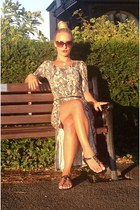 silver snake print H&M dress - brown River Island sunglasses