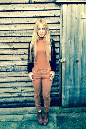 black American Apparel cardigan - bronze leather Aldo boots - bronze asos pants