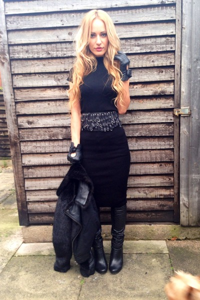 black River Island boots - black asos dress - black Topshop jacket