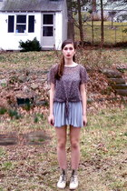 puce Thrift Store blouse - beige boots - dark gray Forever 21 skirt