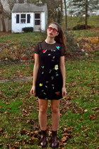 black embroidered thrifted vintage dress - crimson vegan doc martens boots