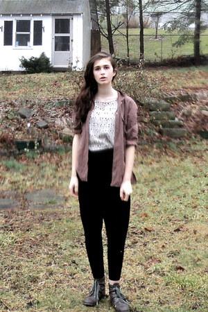 beige printed H&M blouse - light brown Thrift Store shirt - black H&M pants