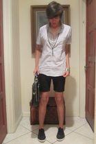 white American Apparel shirt - black thrifted shorts - black Aldo shoes - black