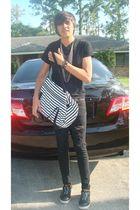 black Alfani shirt - black Forever 21 jeans - black LAMB shoes - black Express b