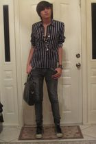 black calvin klein shirt - Forever 21 jeans - silver Guess shoes - silver thrift