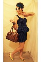 blue Forever 21 dress - brown Betsey Johnson purse - yellow Harajuku Lovers shoe