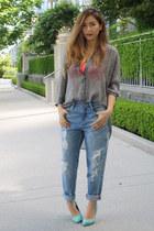 sky blue Zara jeans - aquamarine Aldo pumps