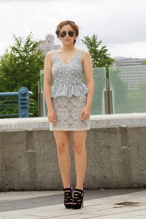 ivory lace Nasty Gal skirt - periwinkle peplum Topshop top