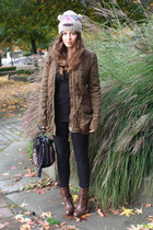 brown Zara boots - olive green wilfred jacket - black SilenceNoise pants