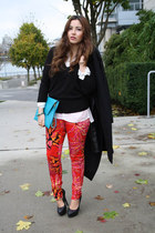 red Versace for H&M pants - black Zara sweater - sky blue asos bag