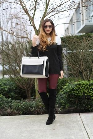 black Forever 21 sweater - white Zara bag - crimson H&M pants