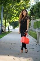 black lace knit Zara sweater - coral kate spade bag