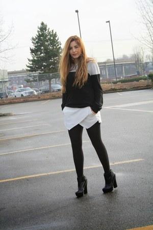 skort Zara skirt - Zara boots - Forever 21 sweater