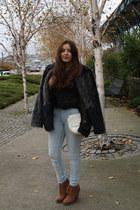 charcoal gray faux fur H&M coat - light blue H&M jeans - black Zara blouse