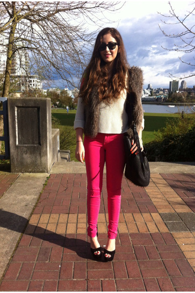 hot pink Zara jeans - black Alexander Wang bag - black Steve Madden heels