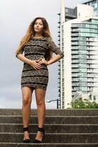 beige River Island dress - black Nasty Gal heels