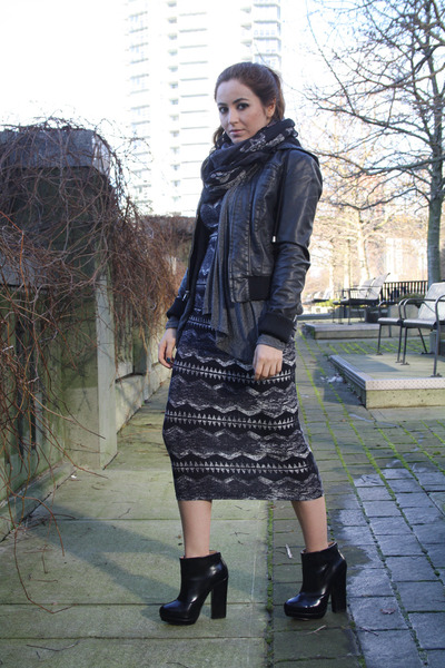 black Zara boots - gray Topshop dress - black Sparkle & Fade jacket