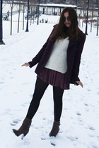 dark brown Zara boots - magenta DKNY coat - white DIY sweater