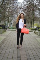 salmon kate spade bag - black Zara blazer - white Sincerely Jules t-shirt