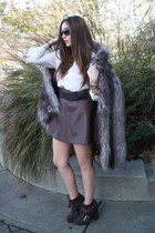 heather gray faux fur asos coat - dark brown Opening Ceremony boots