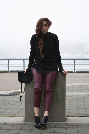 black Zara sweater - black Fossil bag - crimson H&M pants
