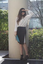 white Zara blouse - black Zara skirt - black Alexander Wang heels