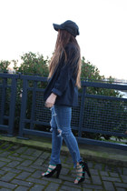 blue American Eagle jeans - navy G-Star hat - black Zara heels