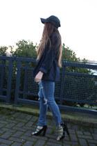 blue American Eagle jeans - navy G-Star hat - black Zara heels