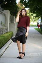 dark brown leather Zara skirt - brick red Zara top - black Nasty Gal heels