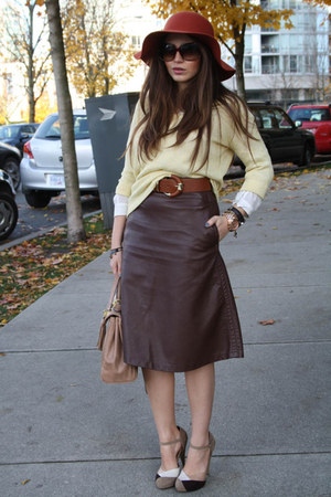 brown leather H&M skirt - light yellow SparkleFade sweater - beige Aldo bag