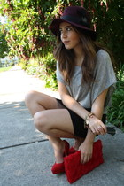 ruby red Aldo pumps - heather gray gery-black brandy dress - crimson H&M hat