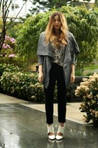 black Zara jeans - charcoal gray Sheinside jacket - ivory H&M t-shirt