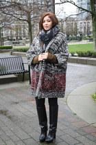 black Zara boots - crimson Zara cardigan