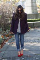 maroon DKNY coat - blue American Eagle jeans - red Aldo heels