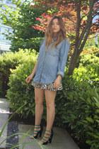 Zara heels - BDG shirt - Zara skirt - Aldo necklace