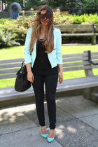 light blue Aldo heels - black BDG jeans - light blue H&M blazer