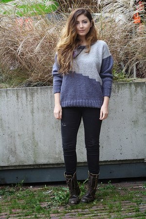 navy knit DIY sweater