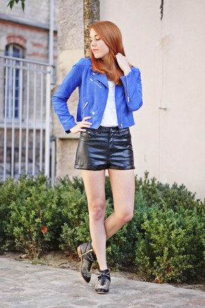 blue H&M jacket - black Zara boots - black H&M shorts
