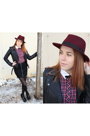 The Kooples hat - Maje jacket - SANDRO shirt - H&M skirt