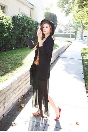 black Nanda skirt - mustard Nanda shirt - red nanda acc flats