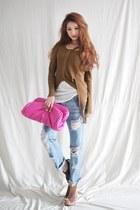 sky blue jeans - white shirt - bubble gum bag - bronze cardigan - camel wedges