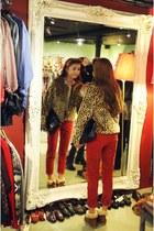bronze jacket - black bag - ruby red pants